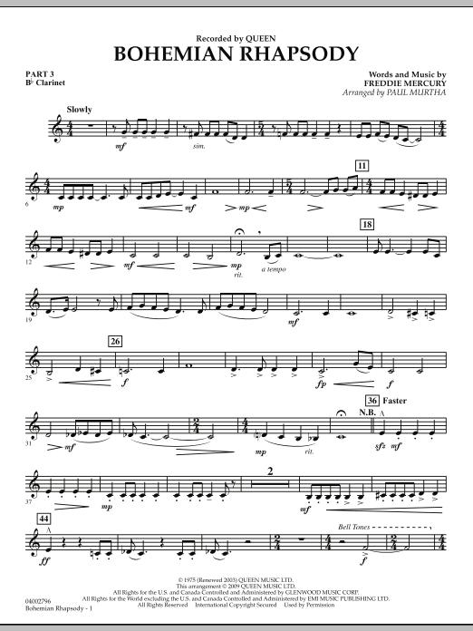 Bohemian Rhapsody - Pt.3 - Bb Clarinet (Concert Band)