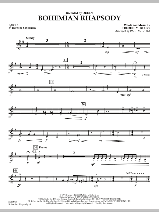 Bohemian Rhapsody - Pt.5 - Eb Baritone Saxophone (Concert Band: Flex-Band)