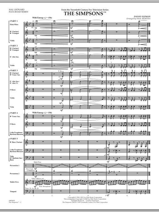 The Simpsons (COMPLETE) sheet music for concert band by Paul Murtha and Danny Elfman. Score Image Preview.