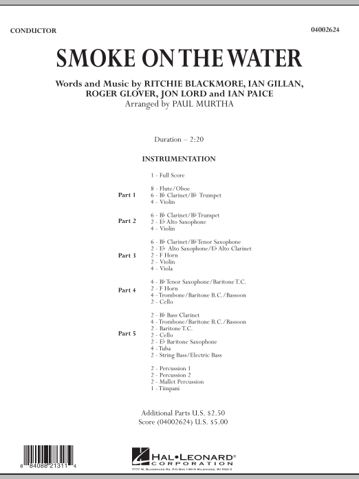 Smoke on the Water (COMPLETE) sheet music for concert band by Paul Murtha, Deep Purple, Ian Gillan and Roger Glover. Score Image Preview.