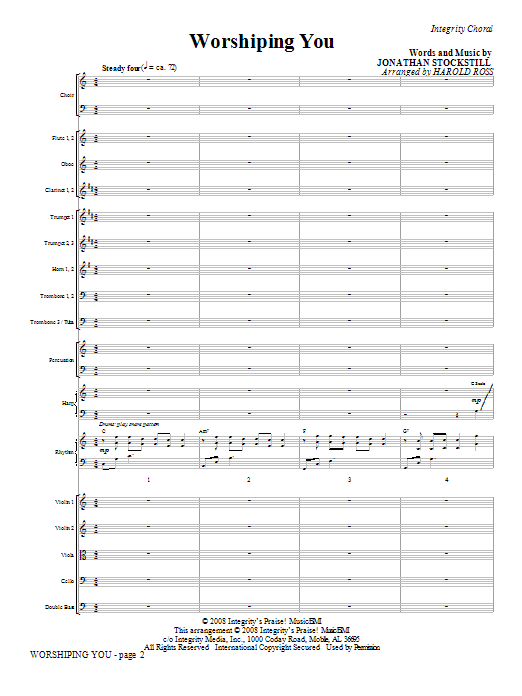 Worshiping You (COMPLETE) sheet music for orchestra/band (Orchestra) by Jonathan Stockstill and Harold Ross. Score Image Preview.