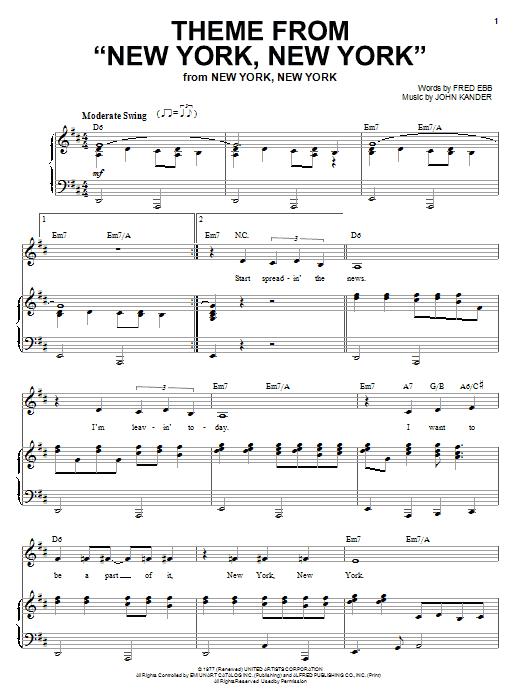 """Partition piano Theme From """"New York, New York"""" de Liza Minnelli - Piano Voix"""