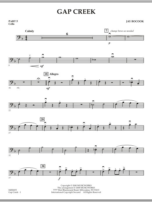 Gap Creek - Pt.5 - Cello (Concert Band: Flex-Band)