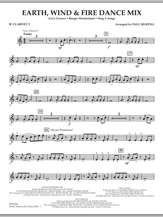 Earth, Wind & Fire Dance Mix - Bb Clarinet 2 (Concert Band)