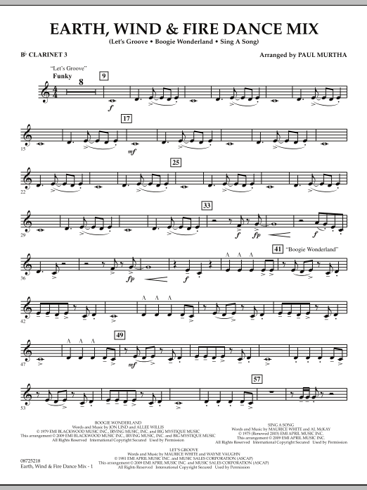 Earth, Wind & Fire Dance Mix - Bb Clarinet 3 (Concert Band)