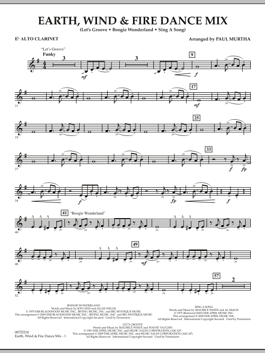 Earth, Wind & Fire Dance Mix - Eb Alto Clarinet (Concert Band)