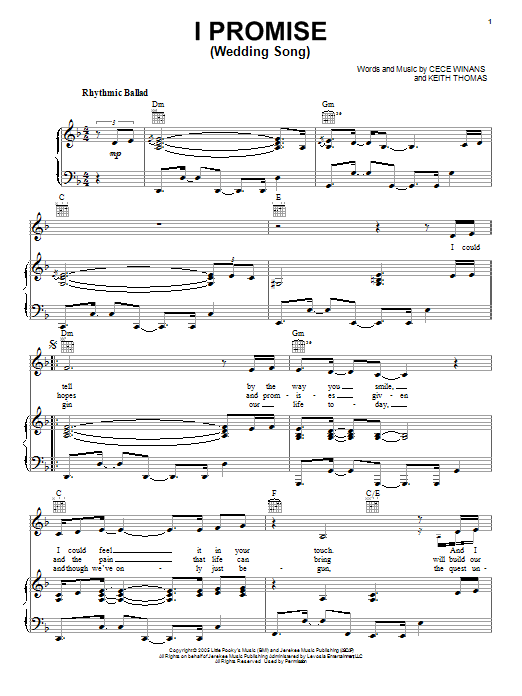 I Promise Wedding Song Sheet Music By CeCe Winans Piano Vocal Amp Guitar Right Hand Melody