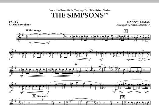 page one of The Simpsons - Pt.2 - Eb Alto SaxophoneASALTTEXT