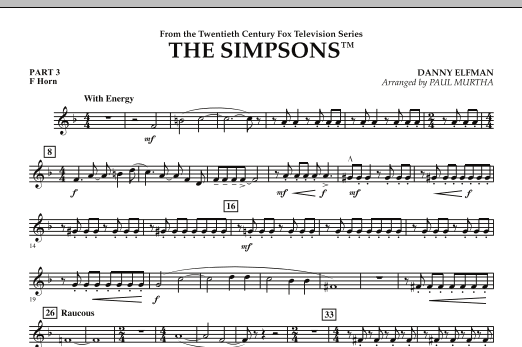 The Simpsons - Pt.3 - F Horn (Concert Band)