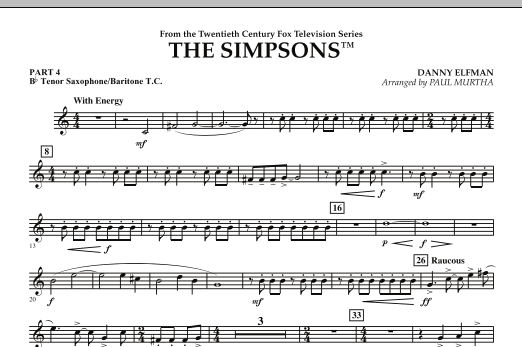 page one of The Simpsons - Pt.4 - Bb Tenor Sax/Bar. T.C.ASALTTEXT