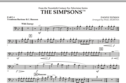 page one of The Simpsons - Pt.4 - Trombone/Bar. B.C./Bsn.ASALTTEXT