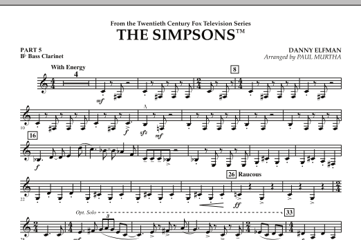 The Simpsons - Pt.5 - Bb Bass Clarinet (Concert Band)