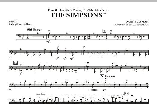 page one of The Simpsons - Pt.5 - String/Electric BassASALTTEXT