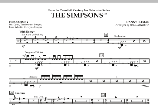 page one of The Simpsons - Percussion 2ASALTTEXT