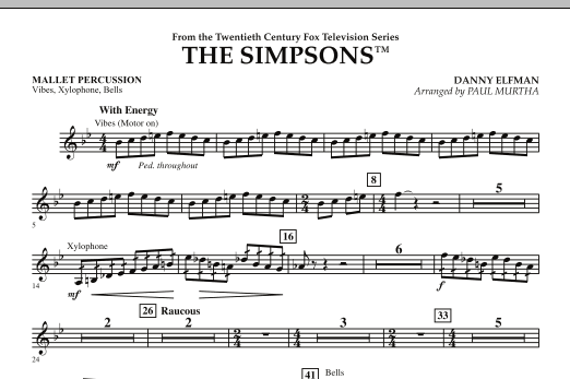 page one of The Simpsons - Mallet PercussionASALTTEXT