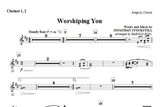 Worshiping You - Clarinet 1 & 2 Sheet Music