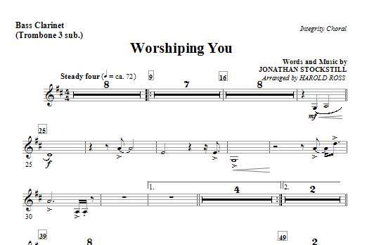 Worshiping You - Bass Clarinet (Trombone 3 sub) (Choir Instrumental Pak)