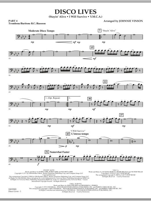 Disco Lives - Pt.4 - Trombone/Bar. B.C./Bsn. (Concert Band: Flex-Band)