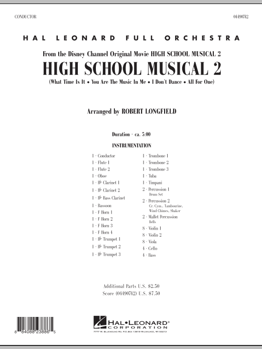 High School Musical 2 (COMPLETE) sheet music for full orchestra by Robert Longfield, Jamie Houston, Matthew Gerrard and Robbie Nevil. Score Image Preview.