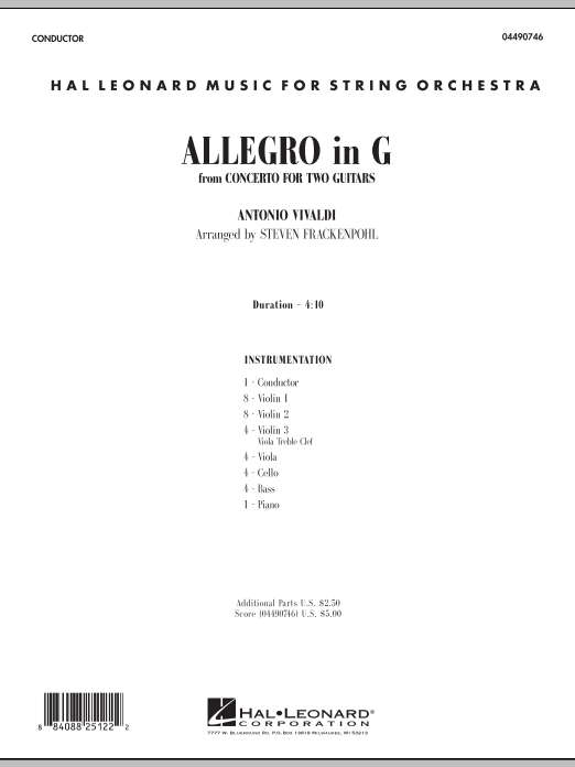 Allegro in G (COMPLETE) sheet music for orchestra by Antonio Vivaldi and Steve Frackenpohl. Score Image Preview.