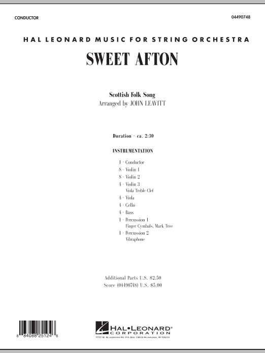 Sweet Afton (COMPLETE) sheet music for orchestra by John Leavitt. Score Image Preview.