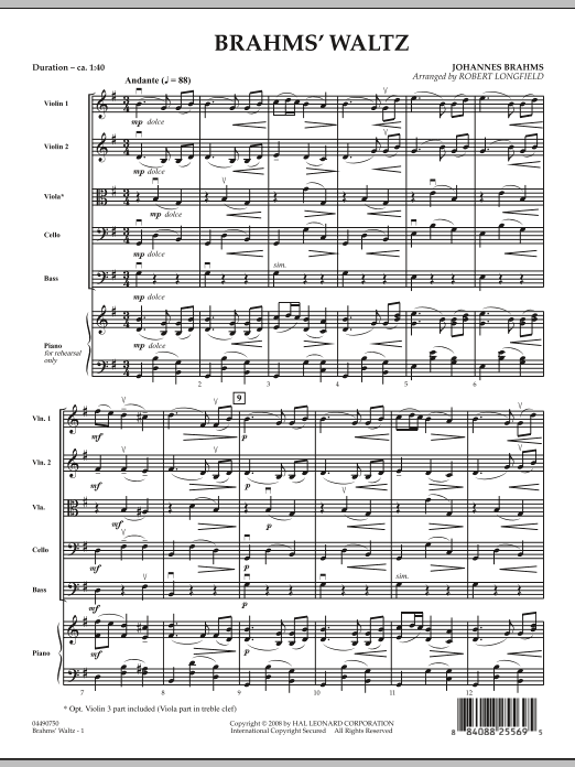 Brahms' Waltz (COMPLETE) sheet music for orchestra by Robert Longfield. Score Image Preview.
