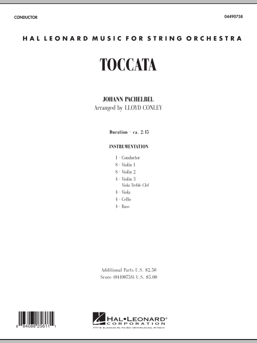 Toccata (COMPLETE) sheet music for orchestra by Lloyd Conley and Johann Pachelbel. Score Image Preview.