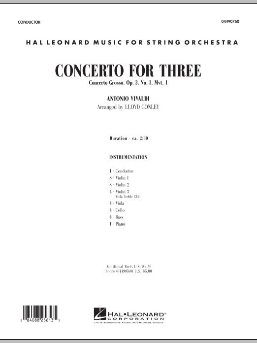 Concerto for Three (COMPLETE) sheet music for orchestra by Lloyd Conley and Antonio Vivaldi. Score Image Preview.