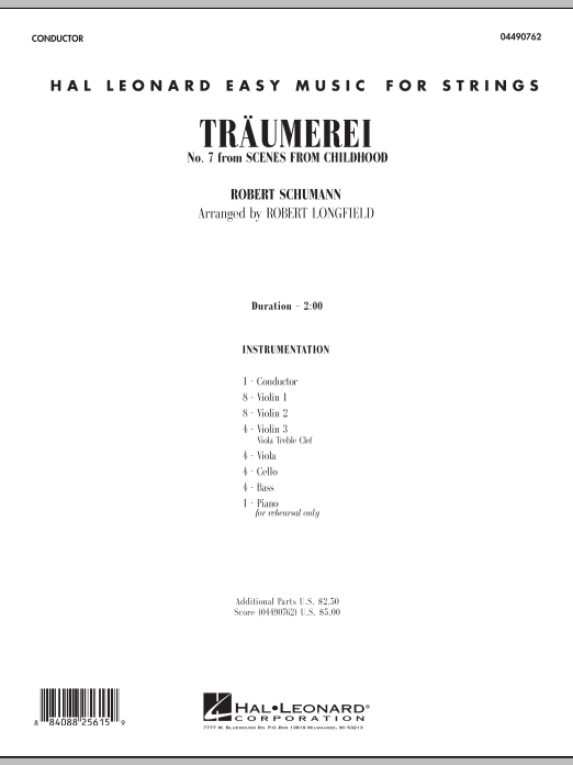 Traumerei (COMPLETE) sheet music for orchestra by Robert Schumann and Robert Longfield. Score Image Preview.