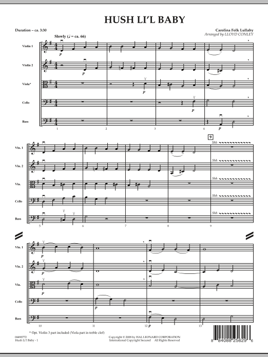 Hush Li'l Baby (COMPLETE) sheet music for orchestra by Lloyd Conley. Score Image Preview.