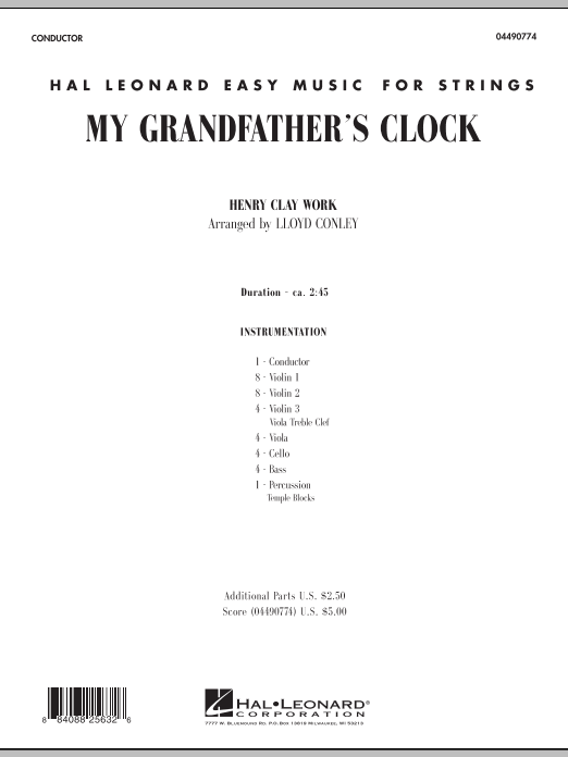 My Grandfather's Clock (COMPLETE) sheet music for orchestra by Lloyd Conley. Score Image Preview.