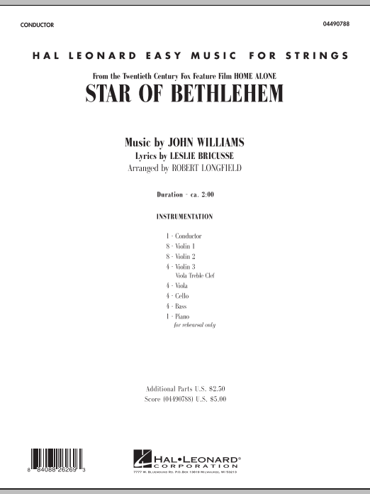 """Star of Bethlehem (from """"Home Alone"""") - Full Score (Orchestra)"""