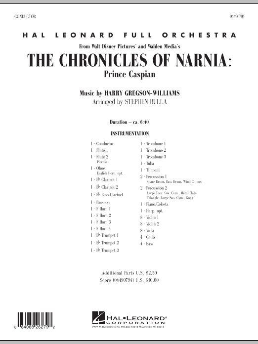 The Chronicles of Narnia: Prince Caspian (COMPLETE) sheet music for full orchestra by Harry Gregson-Williams and Stephen Bulla. Score Image Preview.