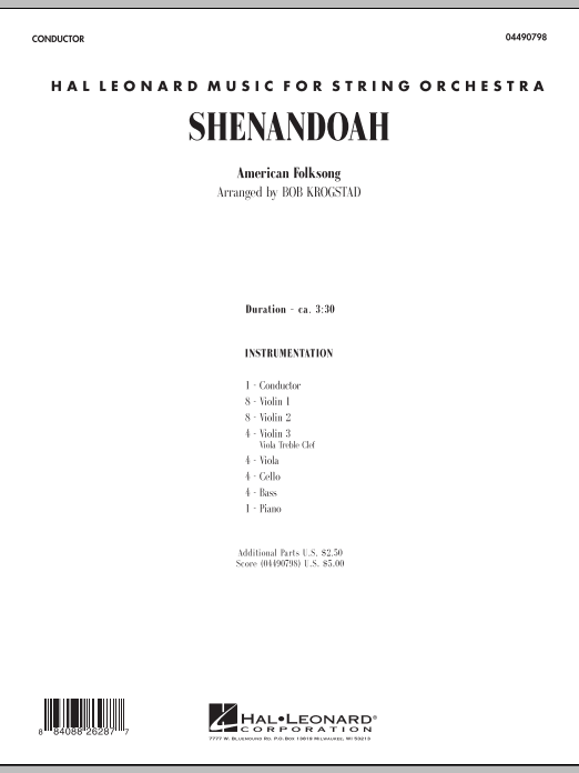 Shenandoah (COMPLETE) sheet music for orchestra by Bob Krogstad. Score Image Preview.