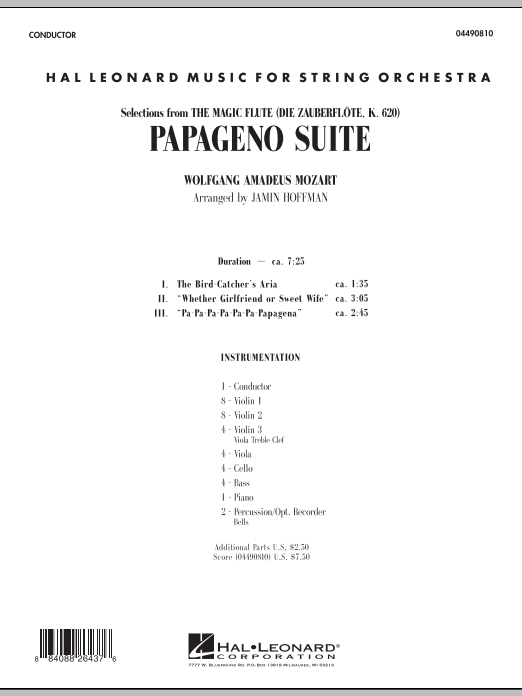 Papageno Suite (COMPLETE) sheet music for orchestra by Jamin Hoffman and Wolfgang Amadeus Mozart. Score Image Preview.