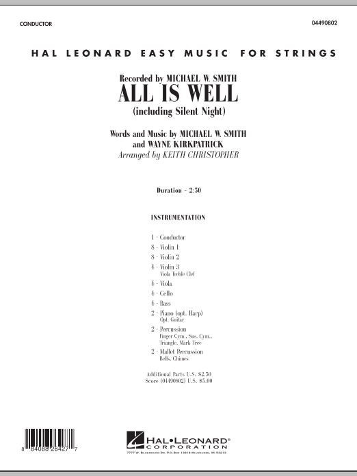 All Is Well (including Silent Night) (COMPLETE) sheet music for orchestra by Keith Christopher, Michael W. Smith and Wayne Kirkpatrick. Score Image Preview.