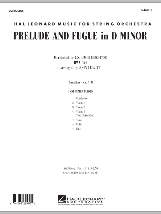 Prelude and Fugue in D Minor (COMPLETE) sheet music for orchestra by Johann Sebastian Bach and John Leavitt. Score Image Preview.