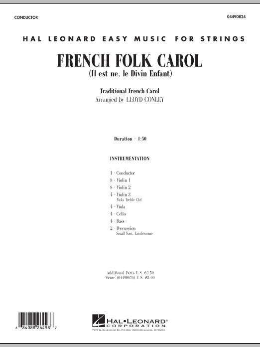 French Folk Carol (COMPLETE) sheet music for orchestra by Lloyd Conley. Score Image Preview.