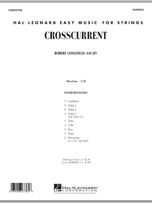 Crosscurrent (COMPLETE) sheet music for orchestra by Robert Longfield. Score Image Preview.