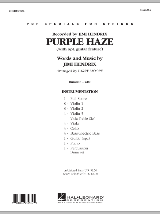 Purple Haze (COMPLETE) sheet music for orchestra by Jimi Hendrix and Larry Moore. Score Image Preview.