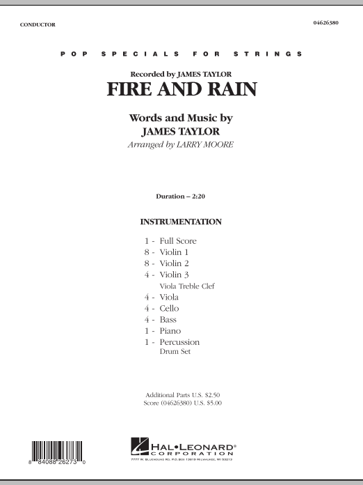 Fire and Rain (COMPLETE) sheet music for orchestra by James Taylor and Larry Moore. Score Image Preview.