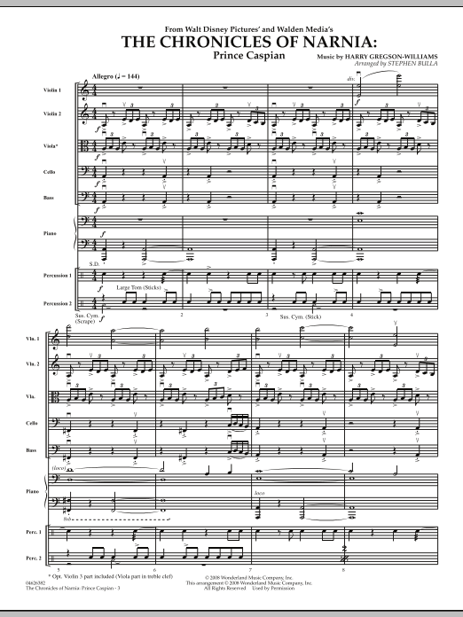 The Chronicles of Narnia: Prince Caspian (COMPLETE) sheet music for orchestra by Stephen Bulla. Score Image Preview.