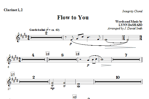 Flow To You - Clarinet 1 & 2 Sheet Music