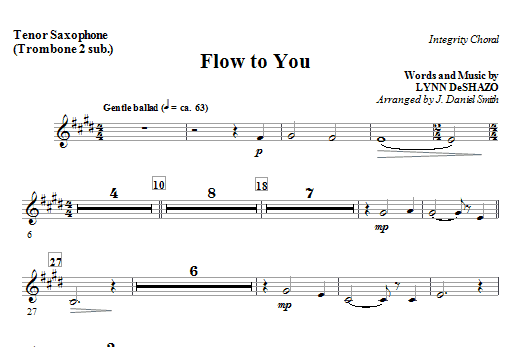 Flow To You - Bass Clarinet (Trombone 3 sub) Sheet Music