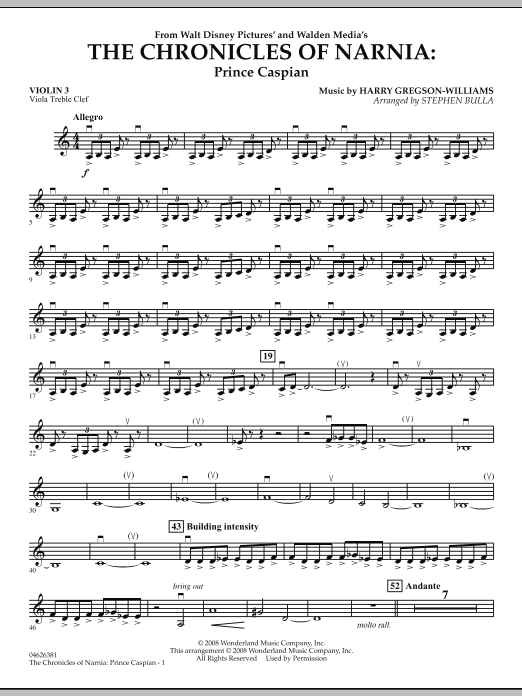 The Chronicles of Narnia: Prince Caspian - Violin 3 (Viola Treble Clef) (Orchestra)