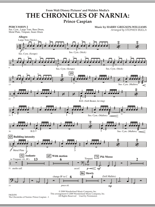 The Chronicles of Narnia: Prince Caspian - Percussion 2 (Orchestra)