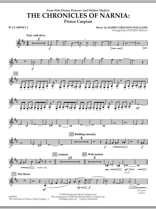 The Chronicles of Narnia: Prince Caspian - Bb Clarinet 2 (Full Orchestra)