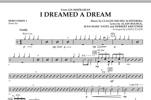 """I Dreamed a Dream (from """"Les Miserables"""") - Percussion 1 (Orchestra)"""