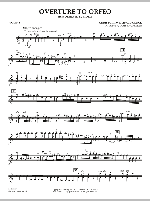 """Overture to """"Orfeo"""" - Violin 1 (Orchestra)"""