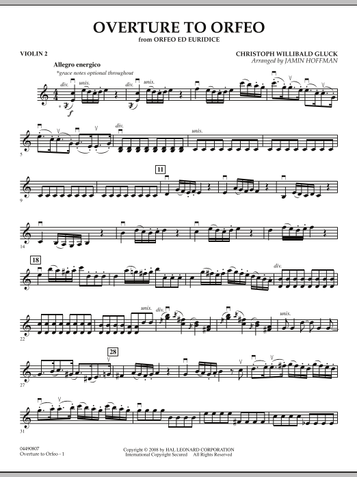 """Overture to """"Orfeo"""" - Violin 2 (Orchestra)"""